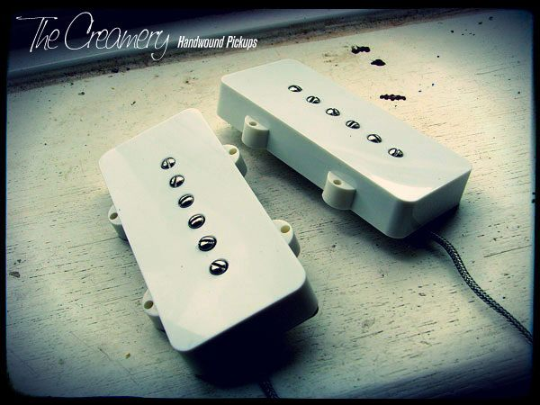 Creamery Custom Handwound True P90 Pickup for Jazzmaster - Jazzmaster Sized P90 Pickup Set - Direct Bridge and Neck Drop-in Replacement