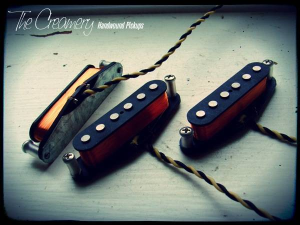 Creamery Custom Handwound 'Extra-Width' Strat Pickup Set - Warmer, Medium Output with custom made ferrous bridge baseplate