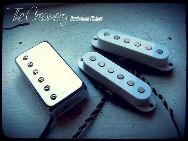 Creamery Custom Handwound Replacement HSS Strat Pickup Set Classic '59 Humbucker Bridge Strat Middle and Neck