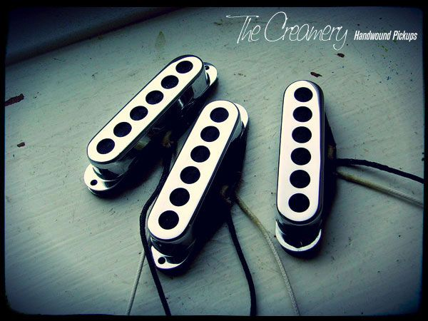 Creamery Custom Handwound Sonic '60 Strat Sized Trisonic style Replacement Pickups Chrome Covers