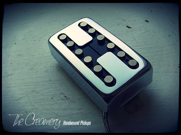 Creamery Custom Handwound Domino Single Coil Voiced Replacement Humbucker Sized Pickup Chrome H-Gate Cover